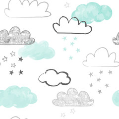 Doodle clouds pattern. Hand drawn vector seamless background with clouds and stars in grey and teal. Scandinavian style print.