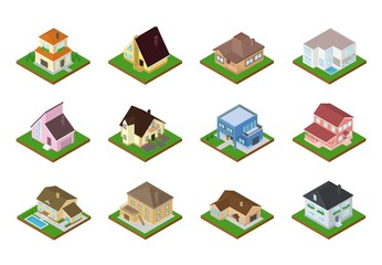House vector isometric housing architecture or residential home illustration set of housekeeping building exterior or cottage construction isolated on white background