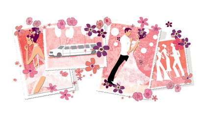 Wedding photos. Bride make-up, party, dance, limousine. Pink and white. Digital illustration.