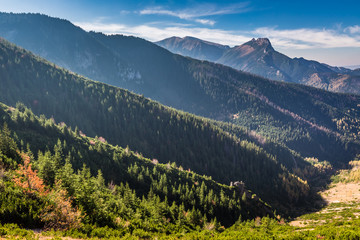 Stunning view from the ridge to valley in Tatra mountains