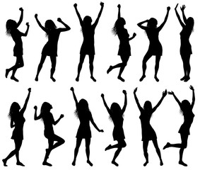 Illustration with happy dancing women silhouettes