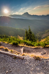 Wall Mural - Sunset in Tatra mountains view from the ridge, Poland