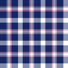 Blue, red and white seamless plaid pattern. Vector background