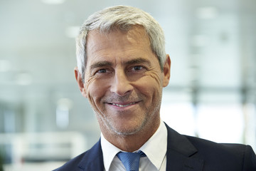 Close-up of businessman smiling