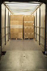 Cardboard boxes in lorry