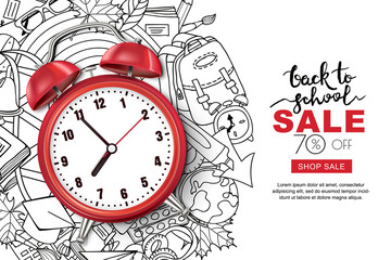 Vector back to school sale banner, poster background. Realistic 3d red alarm clock on outline doodle school supplies background. Layout for discount labels, flyers and shopping.