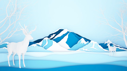 Reindeer on Ice mountain background - Winter season or Christmas artwork - Paper cut style and craft style - 3D Illustration