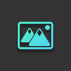 Picture with couple of mountains and sun. Simple icon. Colorful