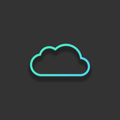 Simple cloud. Linear symbol with thin outline. Colorful logo con