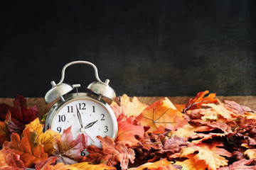 Alarm clock in colorful autumn leaves against a dark background with shallow depth of field. Daylight savings time concept.