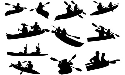 Couple Kayaking Silhouette | People in Canoe Vector | Paddling in Water | Clipart Clip art Logo
