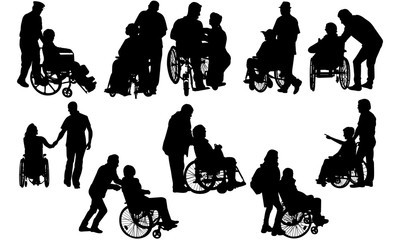 Couple in Wheelchair Silhouette | Disabled with Assistance | Husband Wife in Hospital | Clipart Clip art Logo