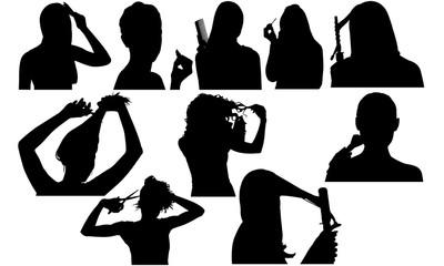 Beauty Silhouette | Salon Vector | Hairdresser or Makeup Artist | Clipart Clip art Logo