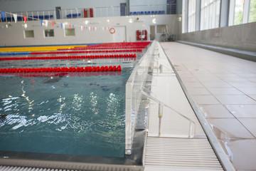 Empty swimming pool in university