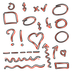 Vector cartoon hand drawn arrows and circles icon set in comic style. Pencil sketch sign illustration pictogram. Arrow, heart, infographic document business splash effect concept.