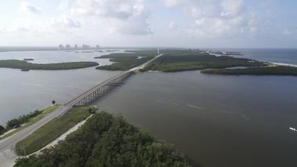 drone aerial of bridge