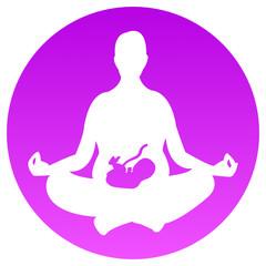 Schwangerschafts-Yoga-Logo: schwangere Frau meditiert im Lotossitz mit ihrem Baby im Bauch