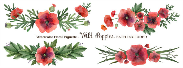 Wild Poppy hand painted watercolor headline or ending vingette