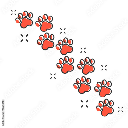 d19c870bc4b6 Vector cartoon paw print icon in comic style. Dog or cat pawprint sign  illustration pictogram. Animal business splash effect concept.