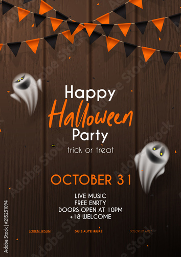 halloween party flyer invitation template vector illustration with