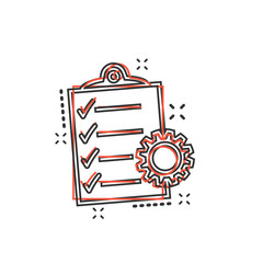 Vector cartoon document icon in comic style. Project management sign illustration pictogram. To do list with gear business splash effect concept.
