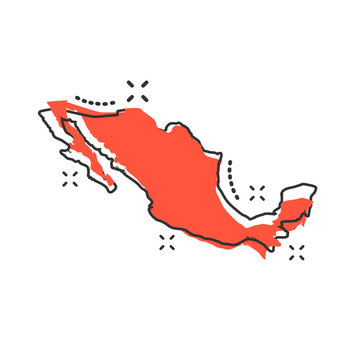 Vector cartoon Mexico map icon in comic style. Mexico sign illustration pictogram. Cartography map business splash effect concept.