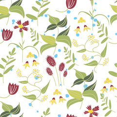 botanical floral seamless pattern. vector flower print.