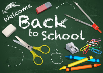 Welcome Back to School Title Written in a Chalkboard with Decorative Equipment - Colored and Detailed Illustration, Vector