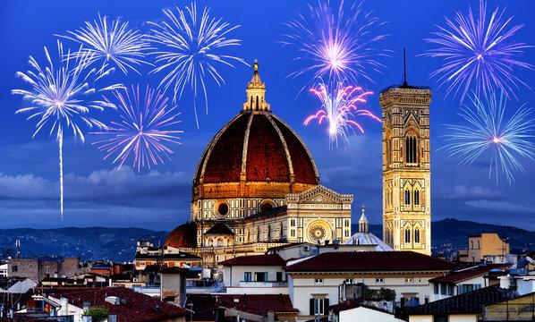 Fireworks over Florence skyline, Tuscany, Italy