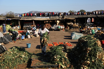 A man works at his stall at a market while supporters of Zimbabwe's opposition party attend a rally in Bindura outside the capital Harare