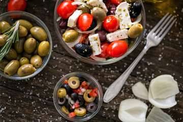 Greek salad with fresh vegetables and olives. Healthy fresh vegetarian food.