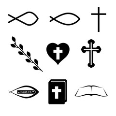 Christian Icons or Symbols. Fish, Cross, Heart, Wine and Holy Bible. Vector Design Elements Set for You Design
