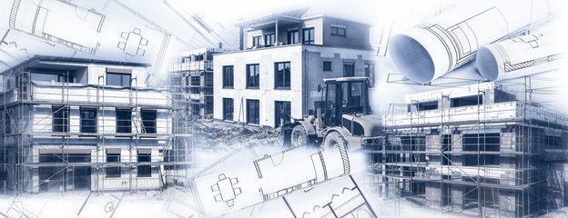 Häuser im Bau mit Bauplänen