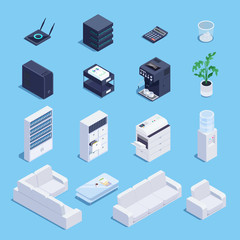 Isometric set of office equipment and furniture.