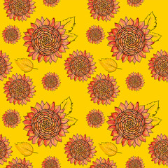 Red Sunflower vector seamless pattern with leaves, imitating ink and watercolor on yellow background. Hand-drawn flower heads. Natural themed wallpaper, wrapping, packaging paper,birthday card design