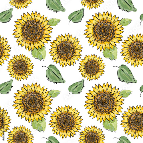 Sunflower vector seamless pattern with green leaves, imitating ink and watercolor on white background. Hand-drawn flower heads. Natural themed wallpaper ...