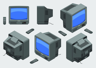 Old fashioned gray TV with remote control; Isometric television set with blue screen shown from different sides flat design
