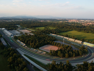 monza circuit aerial view shot from drone on sunset