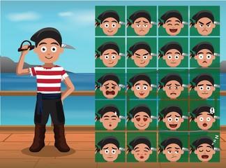 Pirate Boy Cartoon Emoticon Faces Vector Illustration