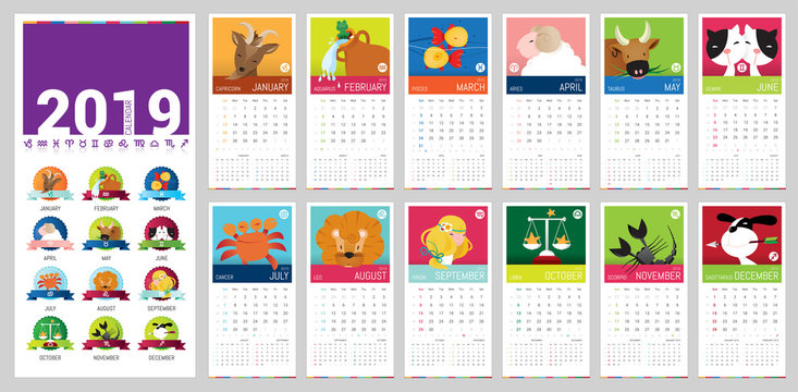 2019 cartoon vector calendar