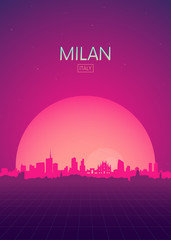 Travel poster vectors illustrations, Futuristic retro skyline Milan