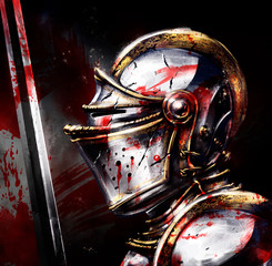Crusader in shiny armor with a bloody sword