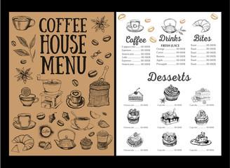 Coffee house menu. Restaurant cafe menu, template design. Food flyer.