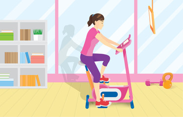 Full body of woman doing Cycling exercise at gym. Illustration about workout with Equipment.