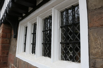 Tudor leaded windows from a Tudor school.  Leaded windows from a Tudor school in England.