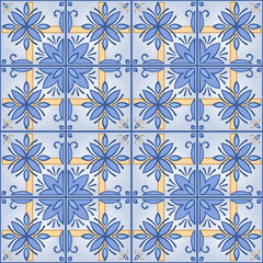 Seamless background with tilework, blue tale wallpaper, azulejo vector
