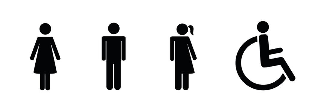 piktogramm mann frau unisex und rollstuhlfahrer
