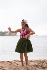 Hawaii hula dancer in costume dancing