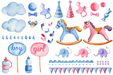 A colorful set of children's illustrations. Accessories and toys for children's parties