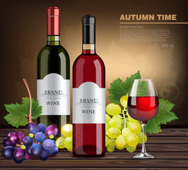Wine bottles and grapes Vector realistic. Product packaging mock up. detailed label design layouts